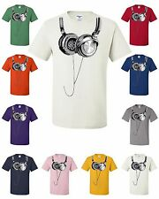 Hanging Headphones T-Shirt Club Party Music Festival Funny DJ Dub Step Tee Shirt