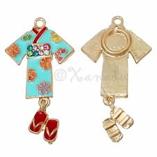 Japanese Kimono With Geta Sandals Wholesale Pendant Charms C3179 - 3PCs Or 5PCs