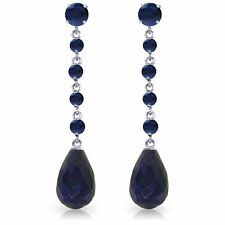 Natural Sapphire Briolette Round Gemstones Drop Dangle Earrings 14K Solid Gold
