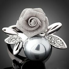 Fine Luxury 18k gold Swarovski crystal flower rose plant black pearl women rings