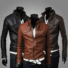 Men's Sexy Slim Fit PU Leather Short Jacket Coat Top Designed Outerwear 3 Sizes