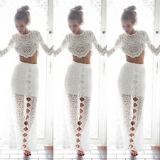 Women Lady Summer  Casual Blouse Lace Hollow T-shirt Crop Tops