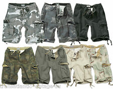 SURPLUS VINTAGE CARGO SHORTS MENS ARMY STYLE COMBAT WASHED COTTON OLIVE GREEN
