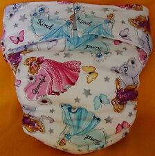 All In One Adult Baby Reusable Cloth Diaper S,M,L,XL Princesses and Butterflies