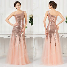1 Shoulder FISHTAIL Dazzling Bridesmaid Evening Formal Wedding Long Prom Dresses