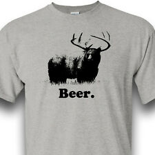 BEER Bear Deer Hunting Alcohol Grizzly Whitetail Heather Gray Tee Shirt