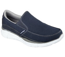 Skechers EQUALIZER POPULAR DEMAND Mens Navy Gray 51503 Slip On Memory Foam Shoes