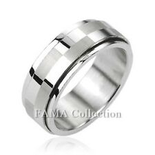 FAMA 8mm Stainless Steel Big Checker Center Spinner Ring Band Size 9-13