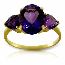 Genuine Purple Amethyst Gemstones 3 Stone Ring in 14K Yellow, White or Rose Gold