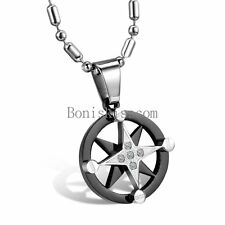 Mens Womens Star of David Stainless Steel Circle Pendant Necklace Black Silver