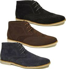 MENS FAUX SUEDE LACE UP CASUAL FORMAL ANKLE DESERT BROGUE BOOTS SHOES TRAINERS