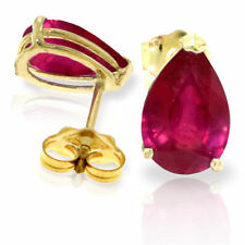 Genuine Red Ruby Pear Cut Gemstones Studs 14K. Yellow, White, Rose Gold Earrings