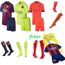 2014-15 Football Soccer Short Jersey Sleeve Kids boy Youth 3-14Y Team Suit+Socks
