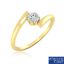 Certified 0.10Ct Natural White Diamond Ring 18K Hallmarked Gold Ring Jewellery