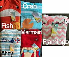 Kids Beach Towel Hoodie Poncho Hooded Flamingo Fish Crab Mermaid Ahoy