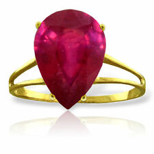 Genuine Red Ruby Pear Cut Gemstone Solitaire Ring in 14K. Yellow, White, Rose Go