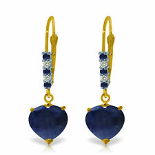 Genuine Sapphire Gems & Diamonds Hearts Leverback Dangle Earrings 14K Solid Gold