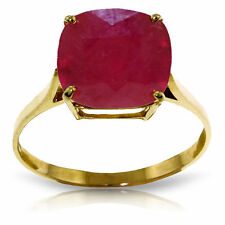Genuine Ruby Cushion Cut Gemstone Solitaire Ring in 14K Yellow, White, Rose Gold