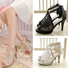 Women's Platform Pumps Lace Embroider Stylish Peeptoe Shoes Fashion New Sandals