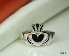 PLAIN BAND CLASSIC ROYAL HEART CLADDAGH RING SZ 6-10 STERLING SILVER 925~CL1~MXW