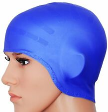2pcs Silicone Swim Cap Hat for Long Hair Unisex Adult Max Stretch Ear Covering