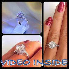 Princess Crown 4.08CT Engagement Diamond Ring Platinum 22KT Silver Made in Italy