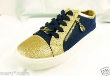 $95 MICHAEL KORS Malaga Shoes sz 7 (Youth 5) Navy/Gold sneakers glitter canvas