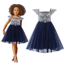Flower Girl Navy Party Dress Embroidered Glitter Tulle Wedding Pageant Princess