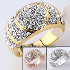 Fashion Rhinestone Heart Band Ring 18KGP Crystal Size 6.5-11.5
