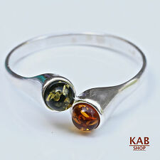 RING Baltic Amber Sterling Silver 925 Beauty Natural Two Stone. KAB-R13