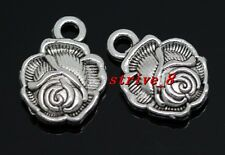 80/400pcs Tibetan Silver Beautiful Roses Alloy Jewelry Charms Pendant 14x10mm