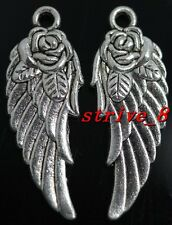Lots 30/150pcs Tibetan Silver Rose Wings Alloy Jewelry Charms Pendant 32x12mm