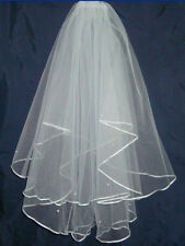 New White Ivory handmade 2T Wedding Bridal Elbow Satin Edge Veil with Comb