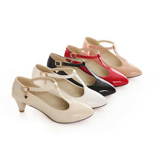 Womens T-strap Kitten Heel Mary Jane Pointy Toe Patent New Pumps Shoes Plus Sz