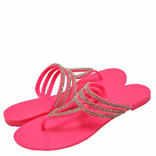 Women's Shoes Bamboo Claire 23 T-Strap Embellished Jelly Sandals Hot Pink *New*