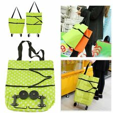 Foldable Folding Dot Print Shopping Trolley Bag Cart with Wheels Lightweight