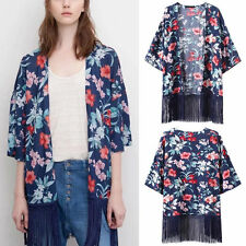 Retro Blue Boho Floral Print Tassels Fringed Kimono Cardigan Blouse Jacket Top