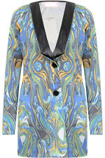 B61 NEW WOMEN CELEBRITY ABSTRACT PRINT INSPIRE BUTTON UP LONG BLAZER JACKET COAT
