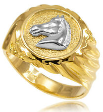 10k Solid Yellow  Gold Horse Head Men's Ring