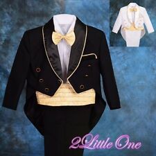 5 Pcs Formal Tuxedo Suit Tail Wedding Party Christening Baby Size 6m-24m ST014A