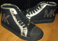 Michael Kors IVY SHANNA Black/Gold Studded Girls High Top Canvas Sneakers Shoes