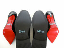 She's Mine He's Mine Wedding Bridal Shoe Stickers Silver Clear Something Blue