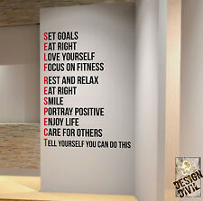 SELF RESPECT Diet Weightloss Motivational Wall Decal Quote Fitness Health Gym