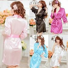 Sexy Women Satin Lace Lingerie Lace Sleepwear Nightwear Night dress Robe
