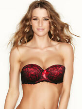 Ann Summers Womens Boost Red Black Strapless Balcony Bra Sexy Lingerie Underwear
