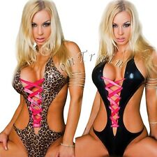 Sexy Women's Wet-Look Leather Club Jumpsuit Bodysuit Babydoll Lingerie Sleepwear