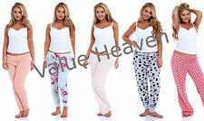 Ladies High St Pyjama Bed Bottoms Cotton Pattern Elastane Pink Grey Blue Cuffed