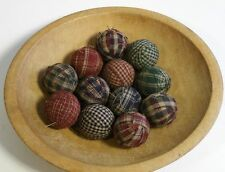 "12 Primitive Country 1.5""  Homespun Fabric Rag Balls Jar Bowl Basket Filler"