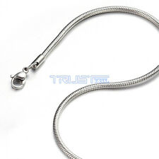 "1.2 - 3.2mm 20"" inch Silver Stainless Steel Round Snake Necklace Chain Men Women"