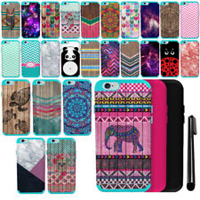 For Apple iPhone 6 6S 4.7 inch PATTERN HYBRID Silicone HARD Case Cover + Pen